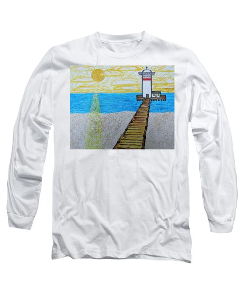 Lighthouse And Yellow Sun Long Sleeve T-Shirt