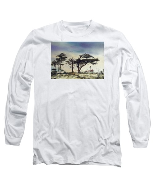 Long Sleeve T-Shirt featuring the painting Lighthouse Coast by James Williamson