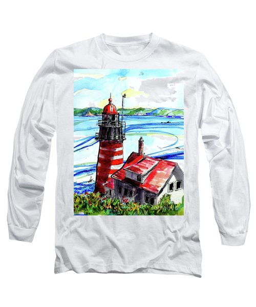Long Sleeve T-Shirt featuring the painting Lighthouse In Maine by Terry Banderas