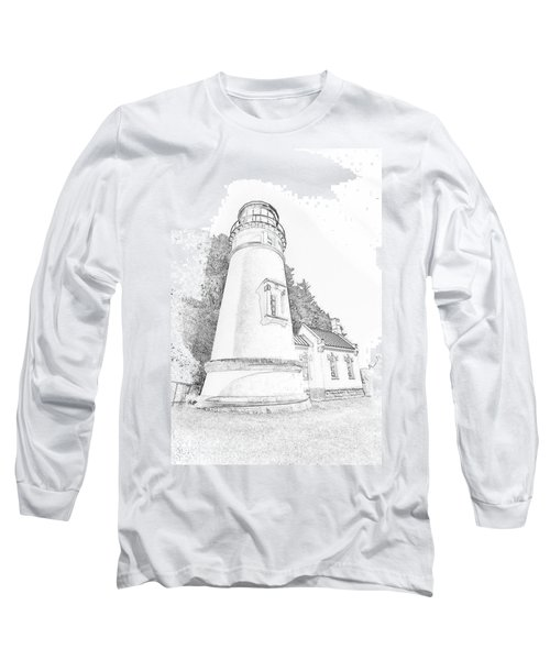 Lighthouse In Oregon Long Sleeve T-Shirt by Jeffrey Jensen