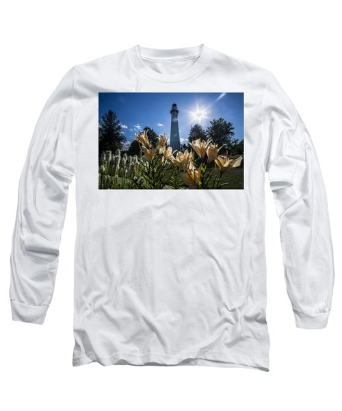 Lighthouse With A Flowery Foreground Long Sleeve T-Shirt