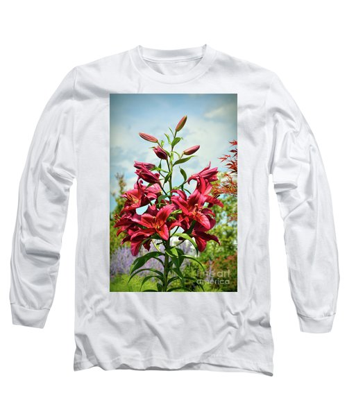 Long Sleeve T-Shirt featuring the photograph Lilies In The Garden by Kerri Farley