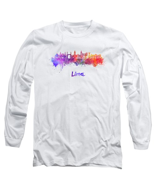 Lima Skyline In Watercolor Long Sleeve T-Shirt