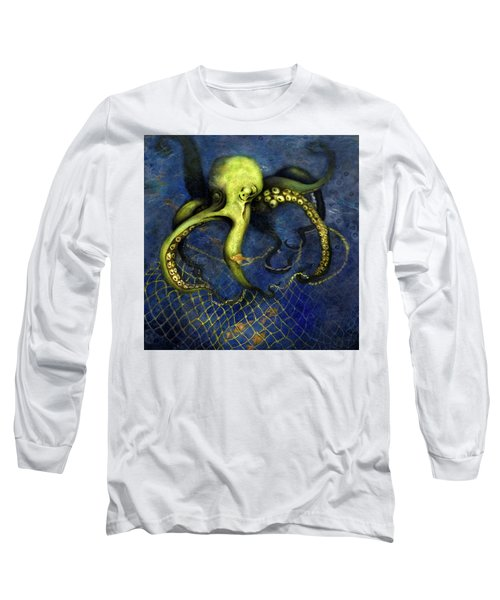 Lime Green Octopus With Net Long Sleeve T-Shirt