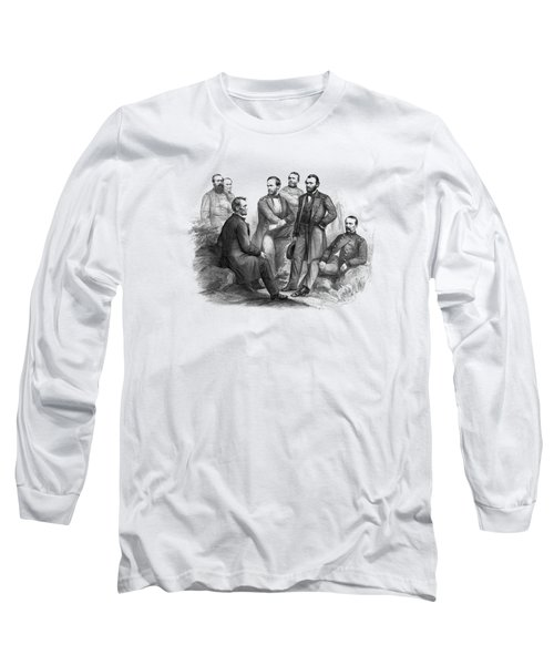 Lincoln And His Generals Black And White Long Sleeve T-Shirt