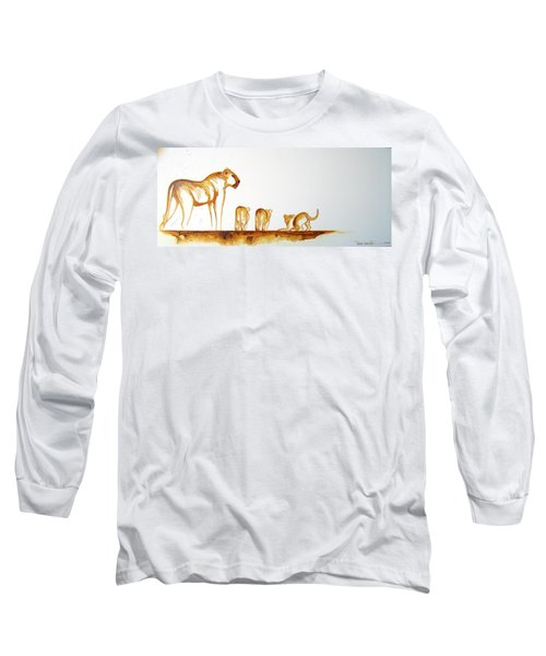 Lioness And Cubs Small - Original Artwork Long Sleeve T-Shirt