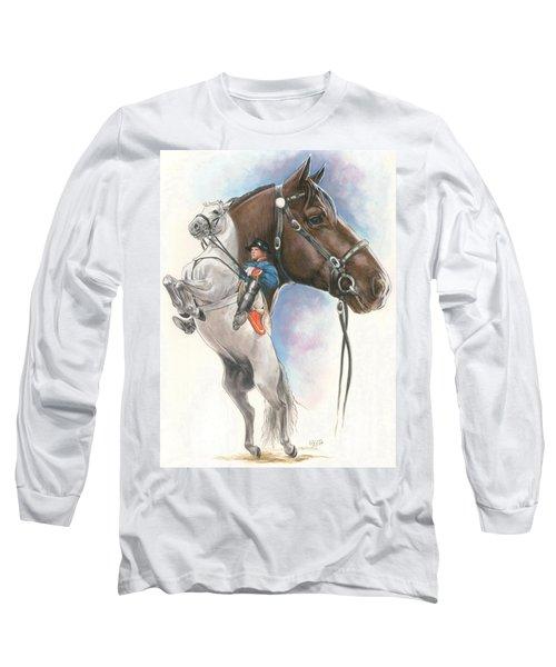 Long Sleeve T-Shirt featuring the mixed media Lippizaner by Barbara Keith