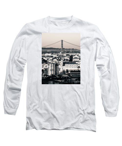 Lisbon In Black And White Long Sleeve T-Shirt