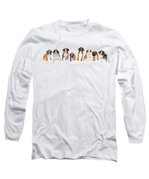 Litter Of Boxer Puppies Long Sleeve T-Shirt by Diane Diederich