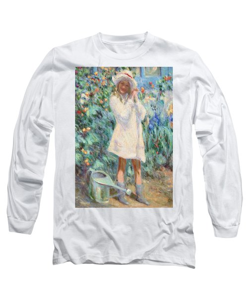 Little Girl With Roses / Detail Long Sleeve T-Shirt by Pierre Van Dijk