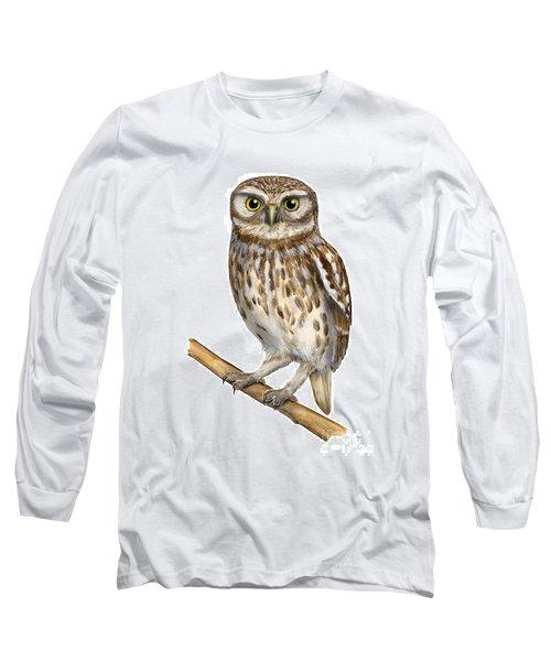 Little Owl Or Minerva's Owl Athene Noctua - Goddess Of Wisdom- Chouette Cheveche- Nationalpark Eifel Long Sleeve T-Shirt