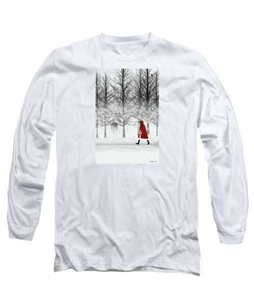 Long Sleeve T-Shirt featuring the digital art Little Red by Nancy Levan