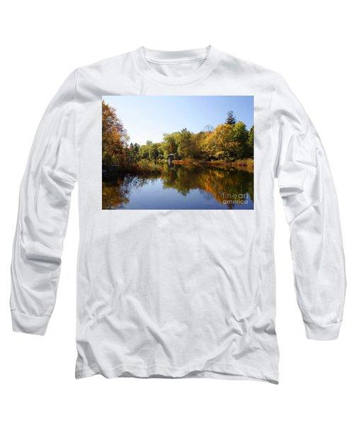 Little Shawme Pond In Sandwich Massachusetts Long Sleeve T-Shirt by Rod Jellison