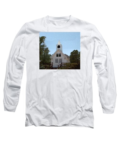 Long Sleeve T-Shirt featuring the digital art Little White Church by Walter Chamberlain