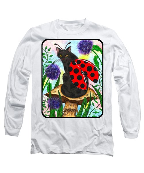 Long Sleeve T-Shirt featuring the painting Logan Ladybug Fairy Cat by Carrie Hawks