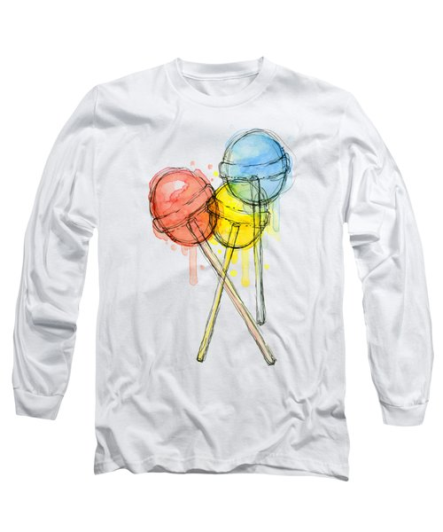 Lollipop Candy Watercolor Long Sleeve T-Shirt