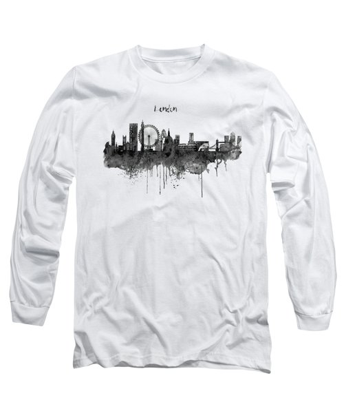 London Black And White Skyline Watercolor Long Sleeve T-Shirt by Marian Voicu