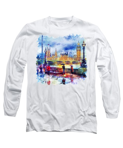 London Rain Watercolor Long Sleeve T-Shirt by Marian Voicu