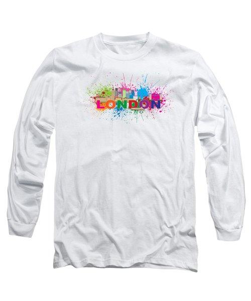 London Skyline Paint Splatter Text Illustration Long Sleeve T-Shirt