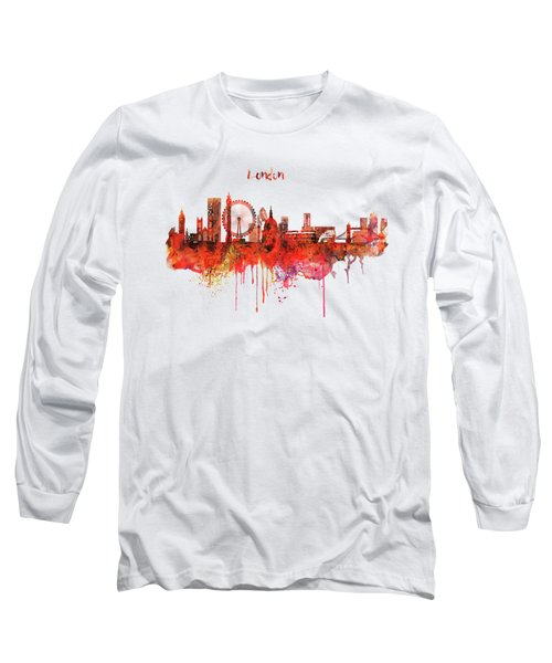 London Skyline Watercolor Long Sleeve T-Shirt by Marian Voicu