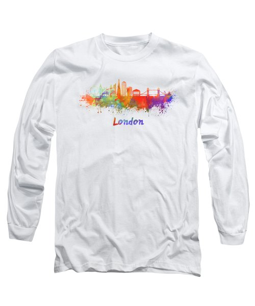London V2 Skyline In Watercolor  Long Sleeve T-Shirt