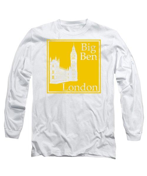 London's Big Ben In Mustard Yellow Long Sleeve T-Shirt
