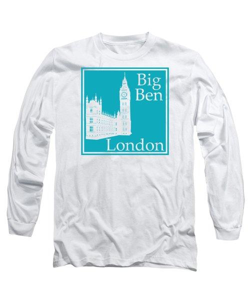 London's Big Ben In Robin's Egg Blue Long Sleeve T-Shirt