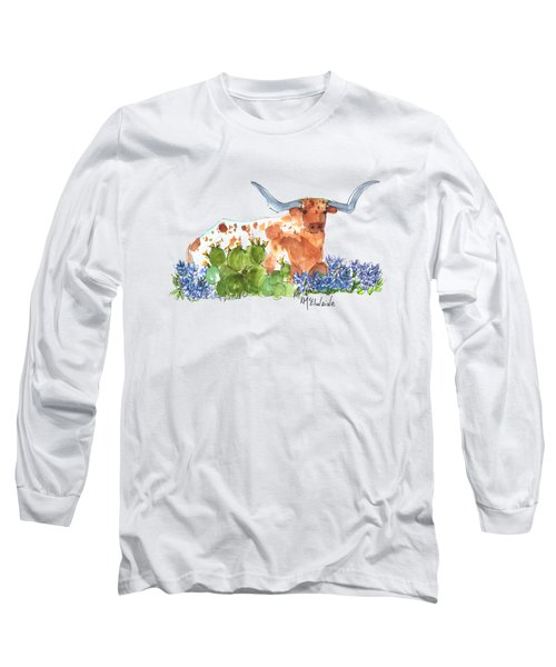 Longhorn In The Cactus And Bluebonnets Lh014 Kathleen Mcelwaine Long Sleeve T-Shirt by Kathleen McElwaine