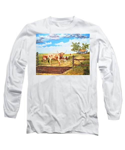 Longhorn Stand Off Your Place Or Mine Long Sleeve T-Shirt