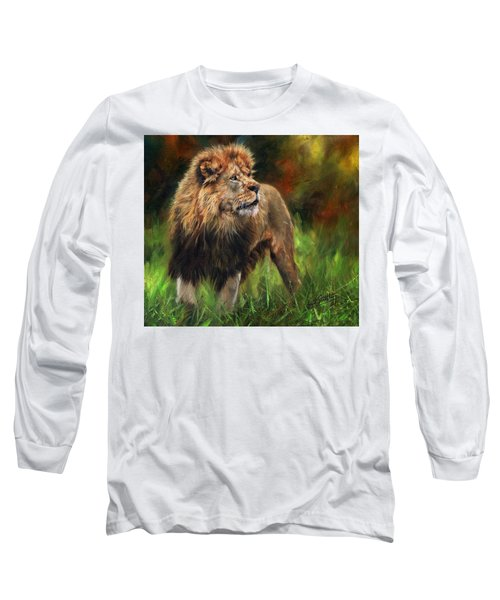 Long Sleeve T-Shirt featuring the painting Look Of The Lion by David Stribbling