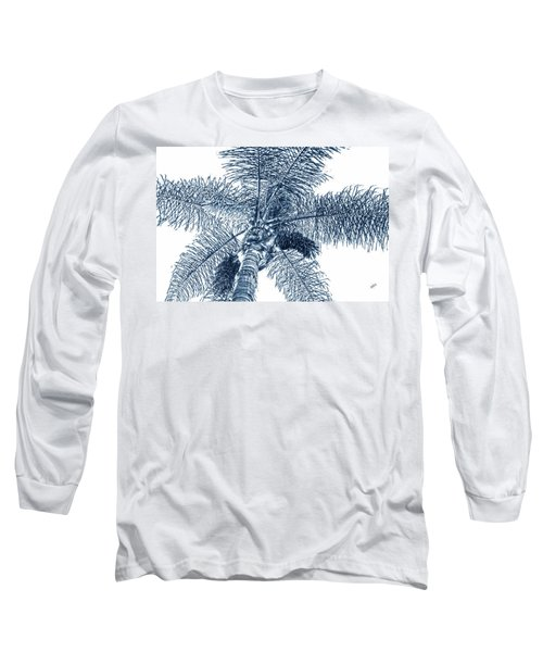 Looking Up At Palm Tree Blue Long Sleeve T-Shirt by Ben and Raisa Gertsberg