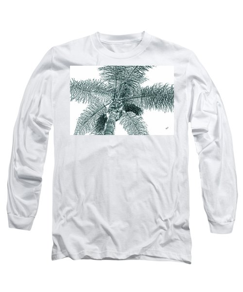 Long Sleeve T-Shirt featuring the photograph Looking Up At Palm Tree Green by Ben and Raisa Gertsberg