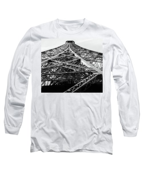 Looking Up From The Eiffel Tower Long Sleeve T-Shirt by Darlene Berger