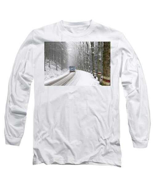 Long Sleeve T-Shirt featuring the photograph Lorry In A Frozen Woods by Dubi Roman