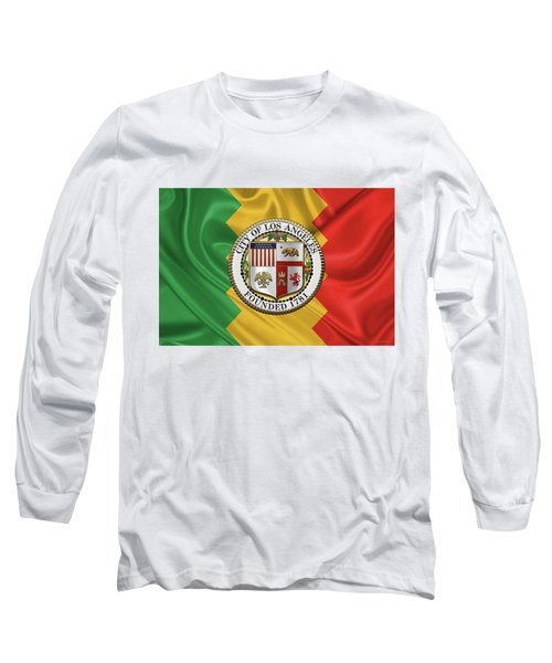 Los Angeles City Seal Over Flag Of L.a. Long Sleeve T-Shirt by Serge Averbukh