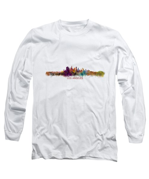 Los Angeles City Skyline Hq V2 Long Sleeve T-Shirt by HQ Photo