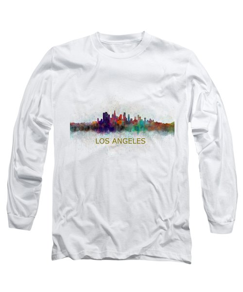 Los Angeles City Skyline Hq V4 Long Sleeve T-Shirt by HQ Photo