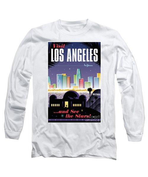 Los Angeles Retro Travel Poster Long Sleeve T-Shirt by Jim Zahniser