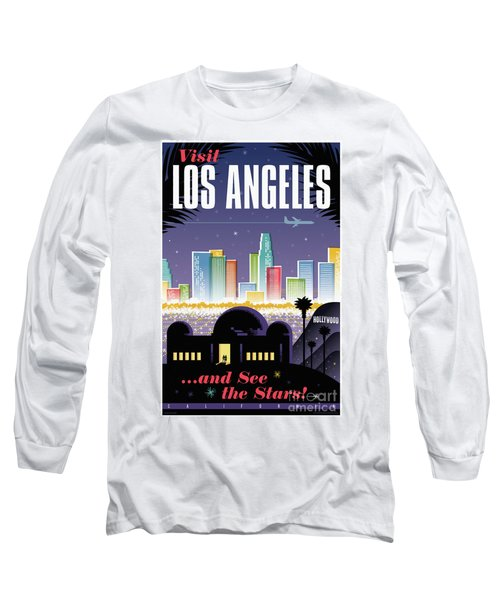 Los Angeles Retro Travel Poster Long Sleeve T-Shirt
