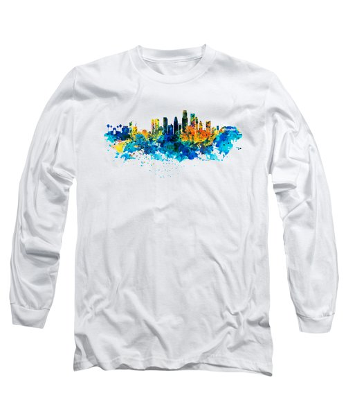 Los Angeles Skyline Long Sleeve T-Shirt by Marian Voicu