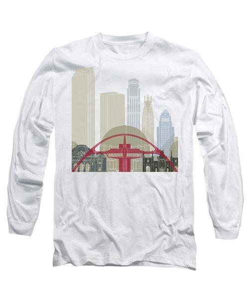 Los Angeles Skyline Poster Long Sleeve T-Shirt by Pablo Romero
