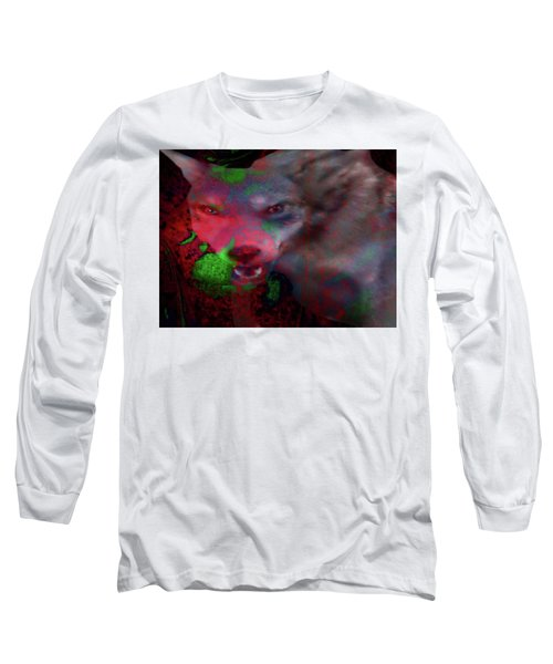 Long Sleeve T-Shirt featuring the mixed media Lost Dog-answers To Coy by Mike Breau
