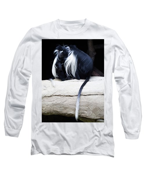 Lost In Cuddling - Black And White Colobus Monkeys  Long Sleeve T-Shirt by Penny Lisowski