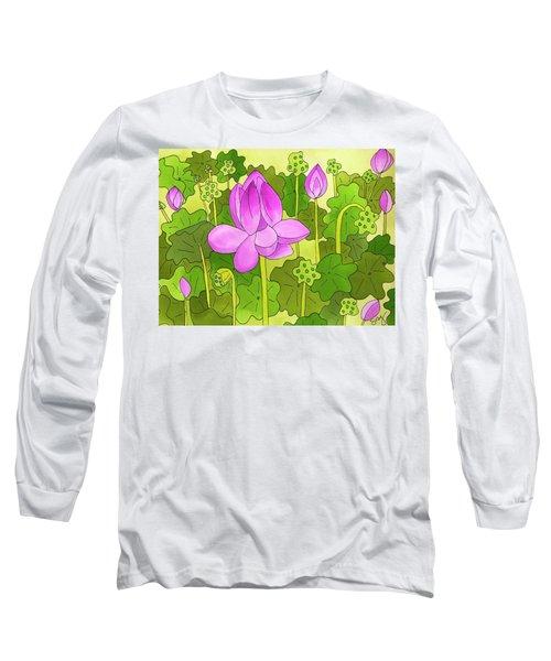 Lotus And Waterlilies Long Sleeve T-Shirt