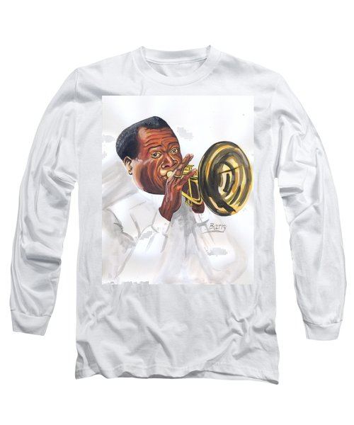 Long Sleeve T-Shirt featuring the painting Louis Armstrong by Emmanuel Baliyanga