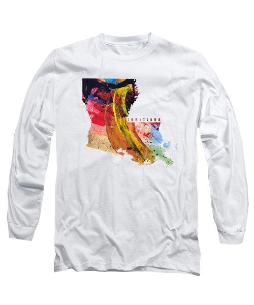 Louisiana Map Art - Painted Map Of Louisiana Long Sleeve T-Shirt