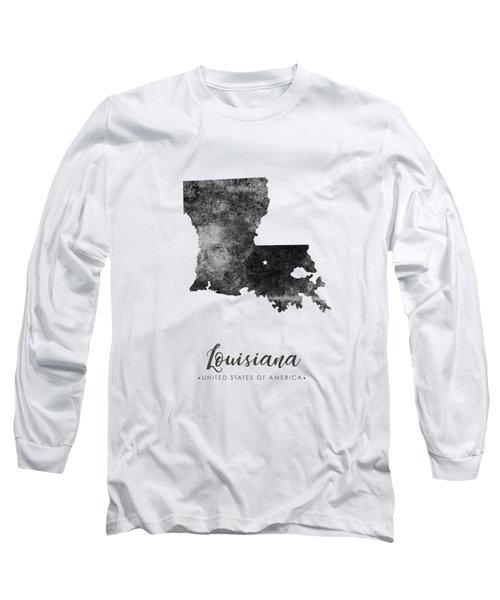 Louisiana State Map Art - Grunge Silhouette Long Sleeve T-Shirt