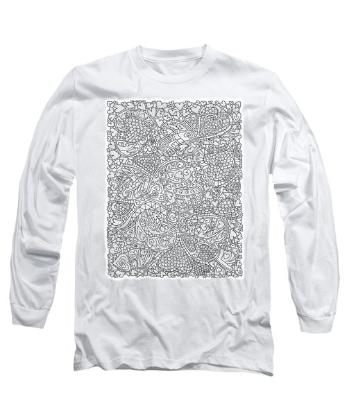 Love And Chrysanthemum Filled Hearts Vertical Long Sleeve T-Shirt by Tamara Kulish