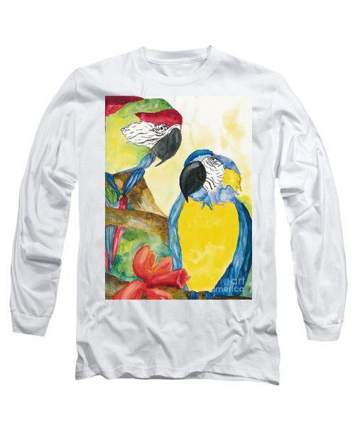 Long Sleeve T-Shirt featuring the painting Love Birds by Vicki  Housel