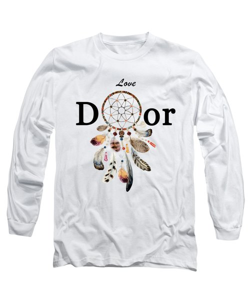 Long Sleeve T-Shirt featuring the painting Love Dior Watercolour Dreamcatcher by Georgeta Blanaru
